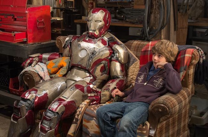 Iron Man 3 L to R: Tony Stark/Iron Man (Robert Downey Jr.) & Harley (Ty Simpkins) Photo Credit: Zade Rosenthal ©Marvel Studios 2013