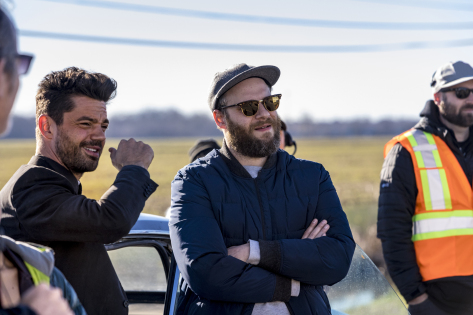 BTS, Executive Producer Seth Rogen, Dominic Cooper as Jesse Custer - Preacher _ Season 2, Episode 1 - Photo Credit: Skip Bolen/AMC